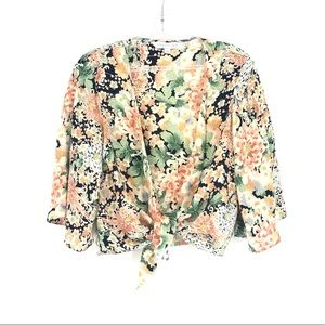 Forever New Silk Tied Front Top Blouse Open Asian